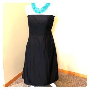 Ann Taylor Silky Black Strapless Dress Size 0